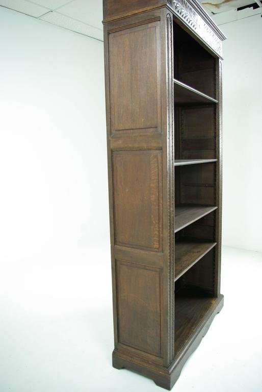 Late 19th Century Antique Scottish Victorian Tall Heavily Carved Oak Bookcase Bookshelf For