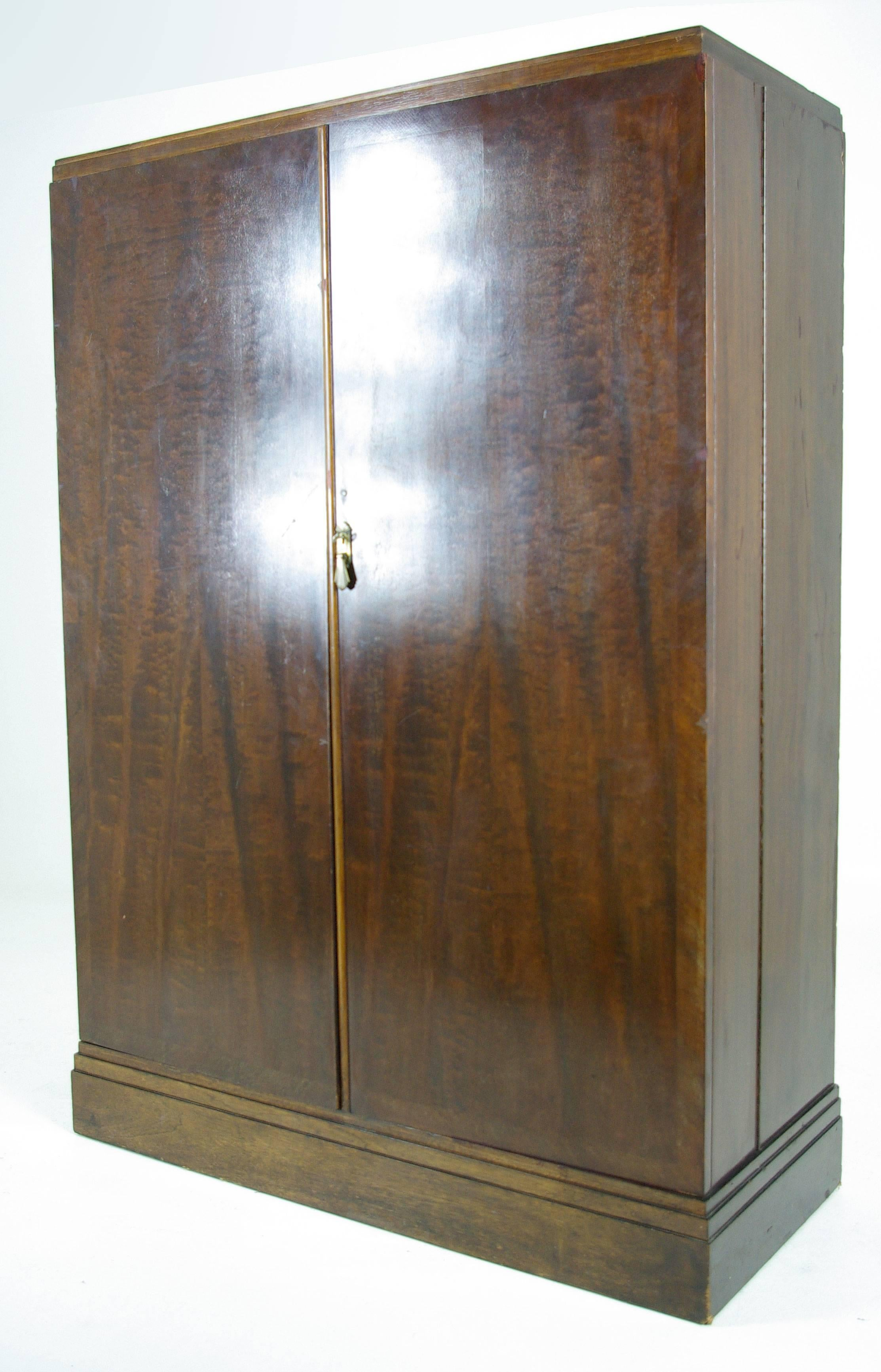 Art Deco Mahogany Compactom Armoire Wardrobe, Fitted Closet At 1stdibs