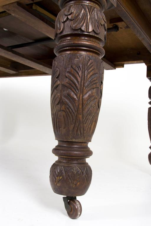 B445 Antique Scottish Victorian Oak Jacobean Carved Dining