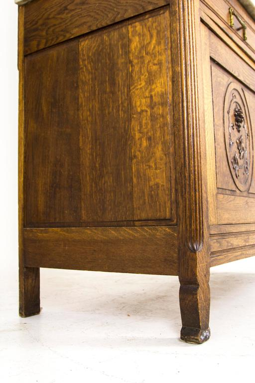Antique French Oak Marble Top Vanity Dresser With Large