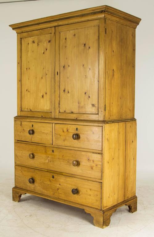 antique scottish victorian pine linen press armoire. Black Bedroom Furniture Sets. Home Design Ideas