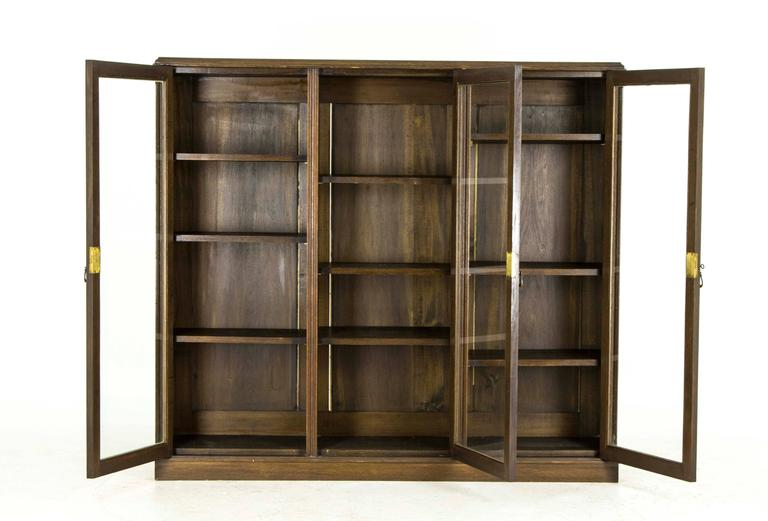 Antique Scottish Three Door Oak Cabinet Library Bookcase Display