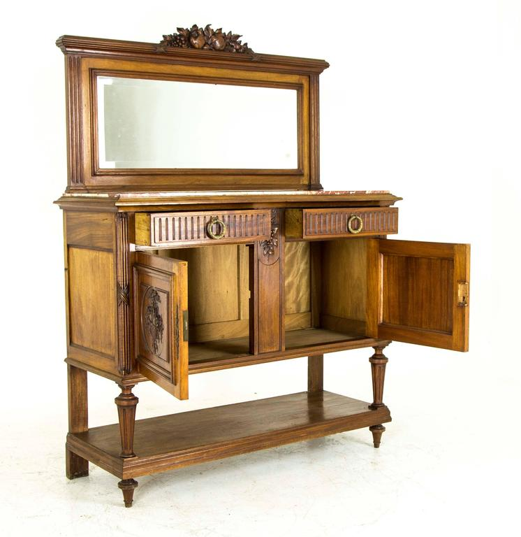 Antique Buffet With Mirror >> Antique Buffet Marble Top Sideboard Credenza With Beveled Mirror