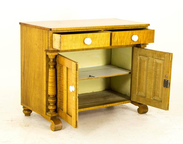 This Antique French Canadian Washstand Is Constructed Of Lovely Tiger  Stripe Maple And Can Be Used