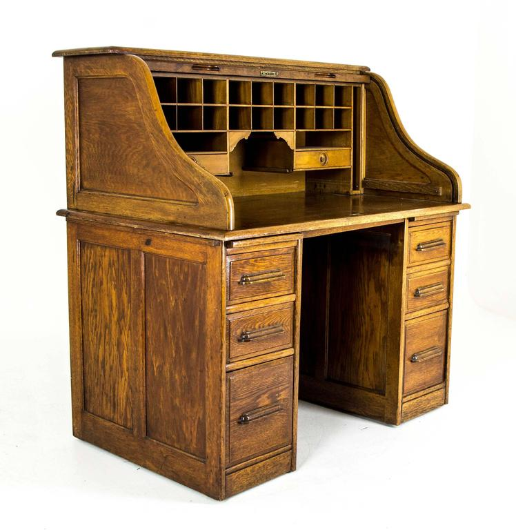 This Gorgeous Double Pedestal Roll Top Desk Is Fashioned Of All Original Golden Oak Nearing