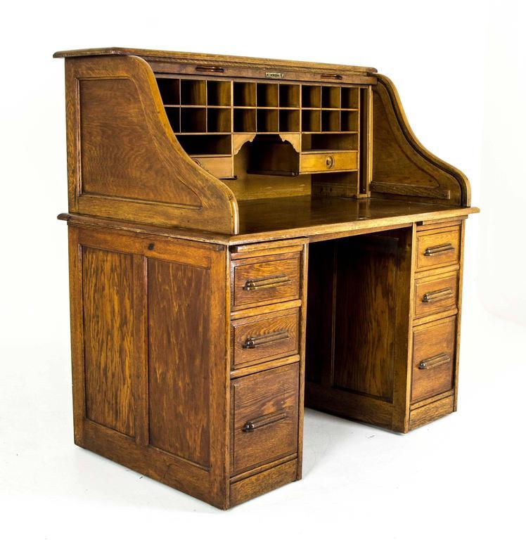 Antique Oak Roll Top Desk Double Pedestal At 1stdibs