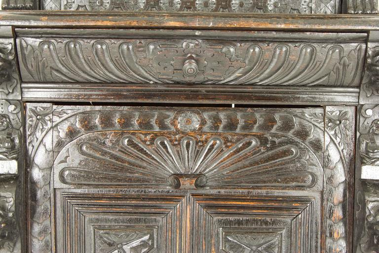Antique Scottish Oak Cabinet Bookcase With Leaded Glass At