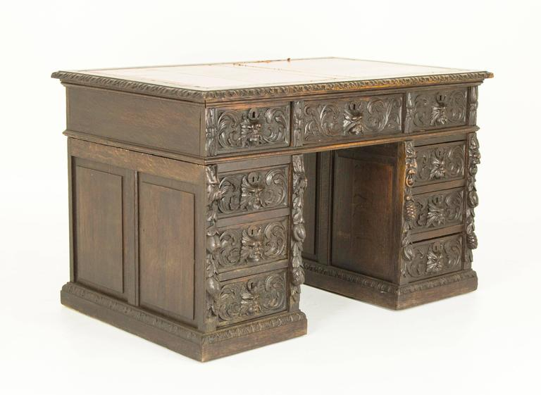 Hand-Carved Antique Scottish Victorian Heavily Carved Oak Desk, Double Pedestal Desk For Sale