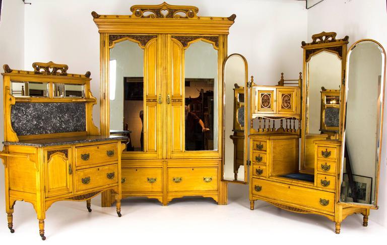 Art nouveau four piece bedroom suite scottish carved