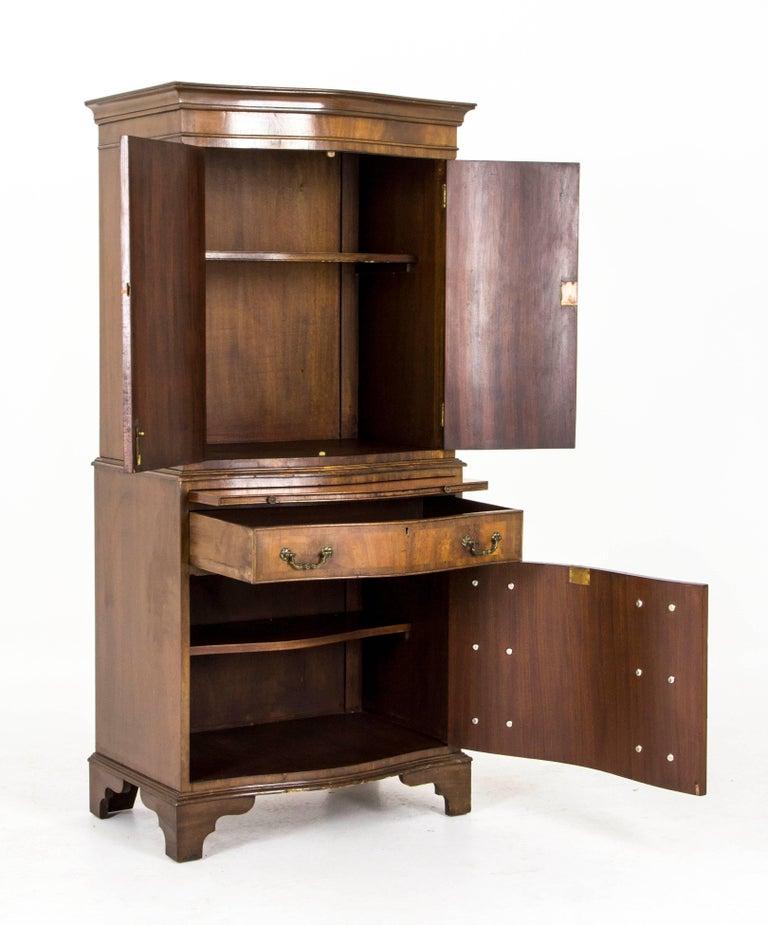 Antique Cocktail Cabinet Dry Bar Scottish Walnut Chest On
