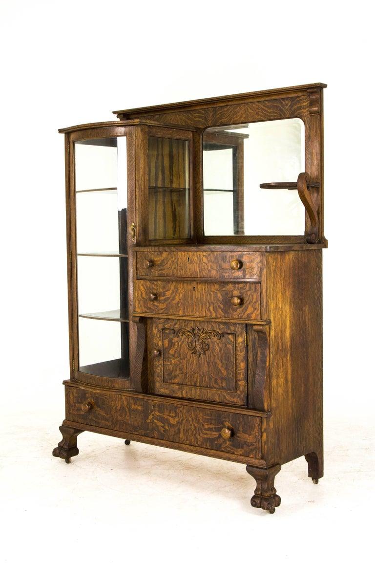 Curio Cabinet Antique Cabinet Buffet Cabinet Tiger Oak