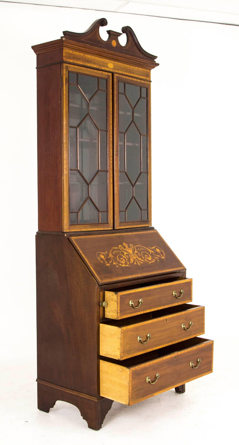 antique secretary inlaid mahogany edwardian bureau bookcase for sale at 1stdibs. Black Bedroom Furniture Sets. Home Design Ideas