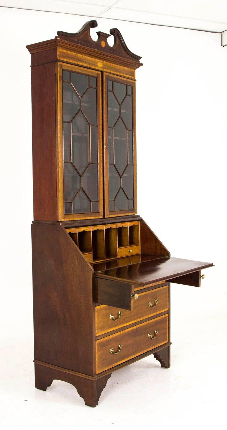 antique secretary inlaid mahogany edwardian bureau bookcase for sale at 1stdibs. Black Bedroom Furniture Sets. Home Design Ideas