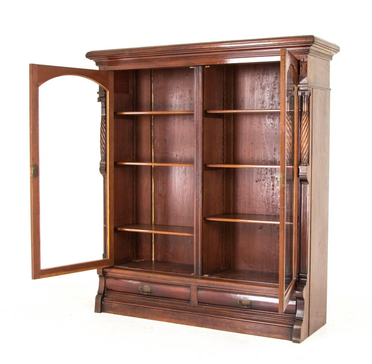 Eastlake Bookcase Antique Display Cabinet Victorian Walnut, B813 2 - Eastlake Bookcase Antique Display Cabinet Victorian Walnut, B813