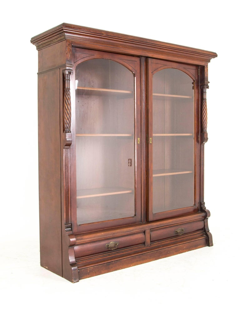 Eastlake Bookcase Antique Display Cabinet Victorian Walnut