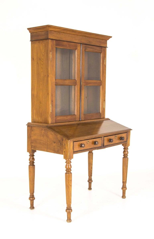 Antique Cabinet Victorian Bookcase Walnut Slant Front Desk