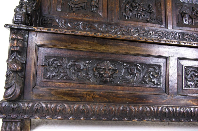 Late 19th Century Antique Hall Bench Carved Oak Bench Victorian Bench Scotland, 1880 For Sale