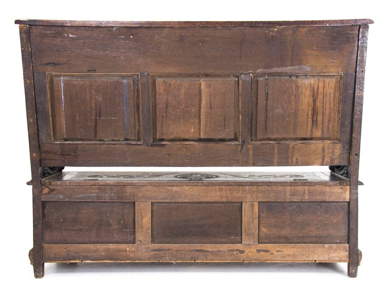 Antique Hall Bench Carved Oak Bench Victorian Bench Scotland, 1880 For Sale 5