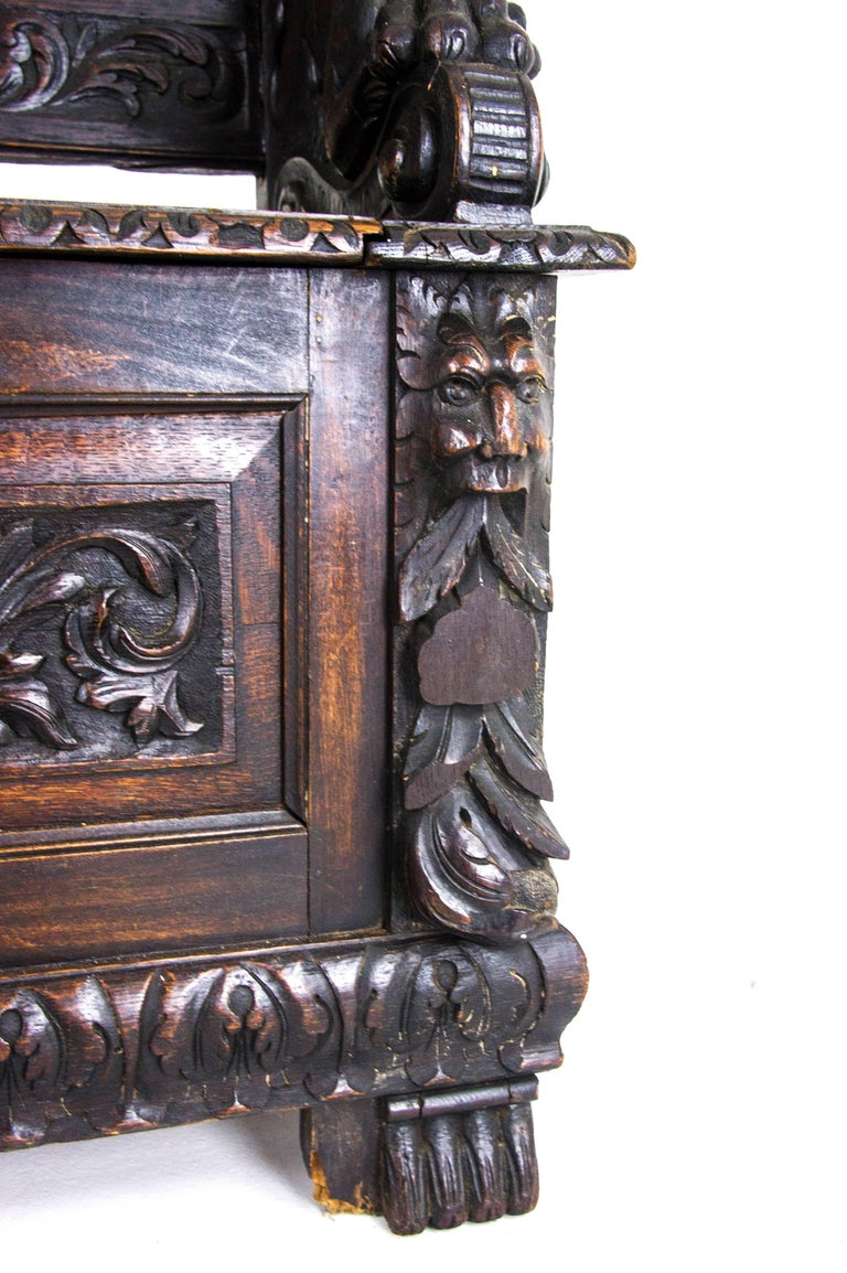 Antique Hall Bench Carved Oak Bench Victorian Bench Scotland, 1880 For Sale 1