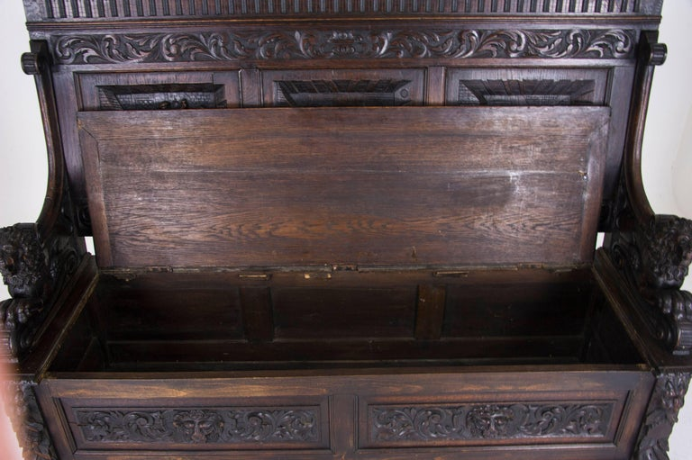 Antique Hall Bench Carved Oak Bench Victorian Bench Scotland, 1880 For Sale 4