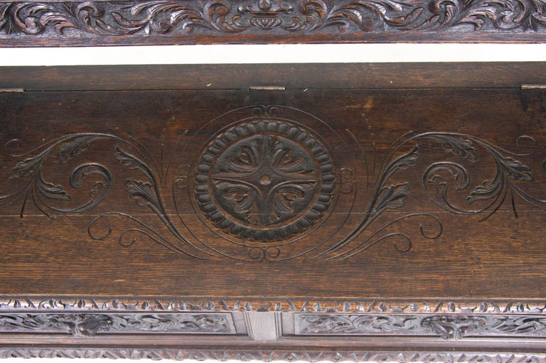 Antique Hall Bench Carved Oak Bench Victorian Bench Scotland, 1880 For Sale 2