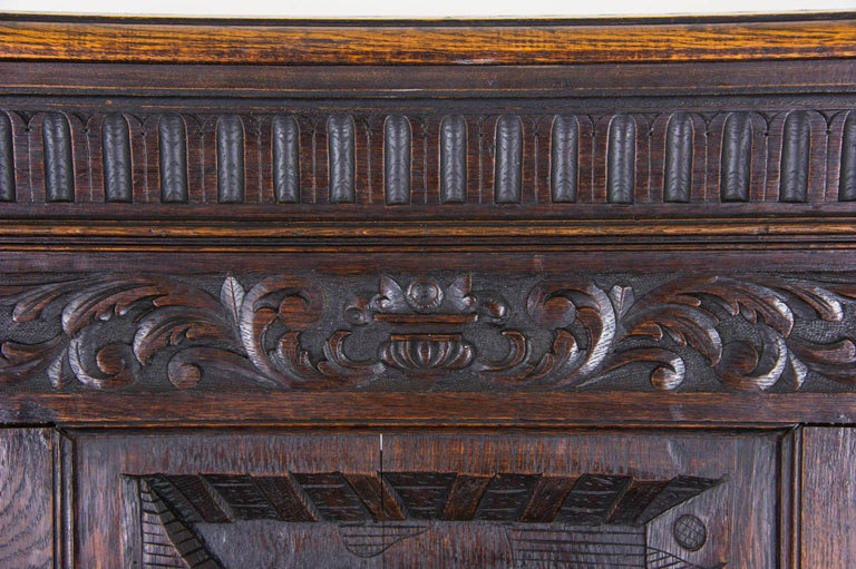 Antique Hall Bench Carved Oak Bench Victorian Bench Scotland, 1880 For Sale 3