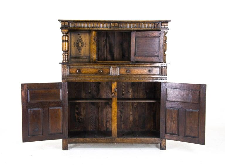 Oak court cupboard carved oak sideboard scotland 1910 for Sideboard 2 50 m
