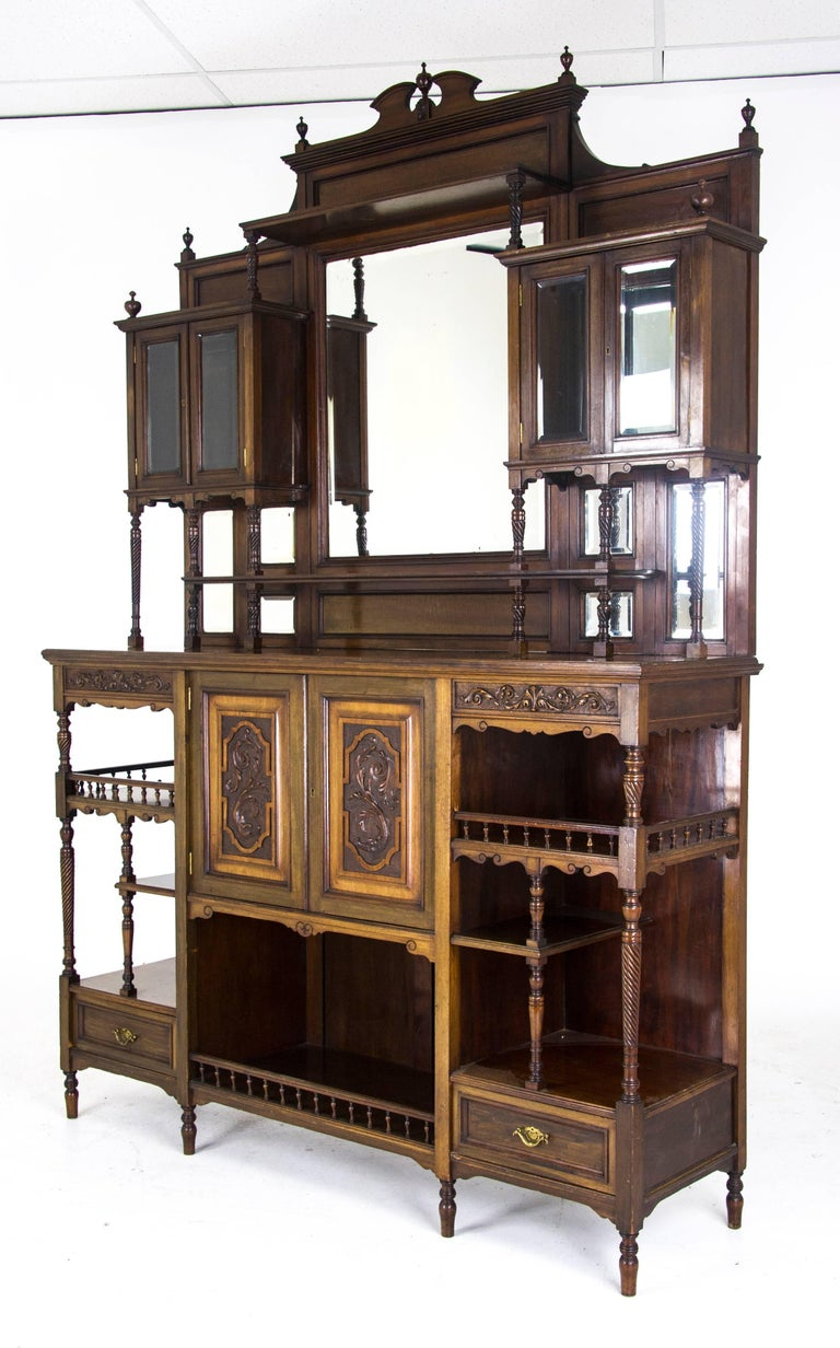 Antique Display Cabinet Victorian Mirror Back Cabinet, Scotland, 1870 2 - Antique Display Cabinet Victorian Mirror Back Cabinet, Scotland