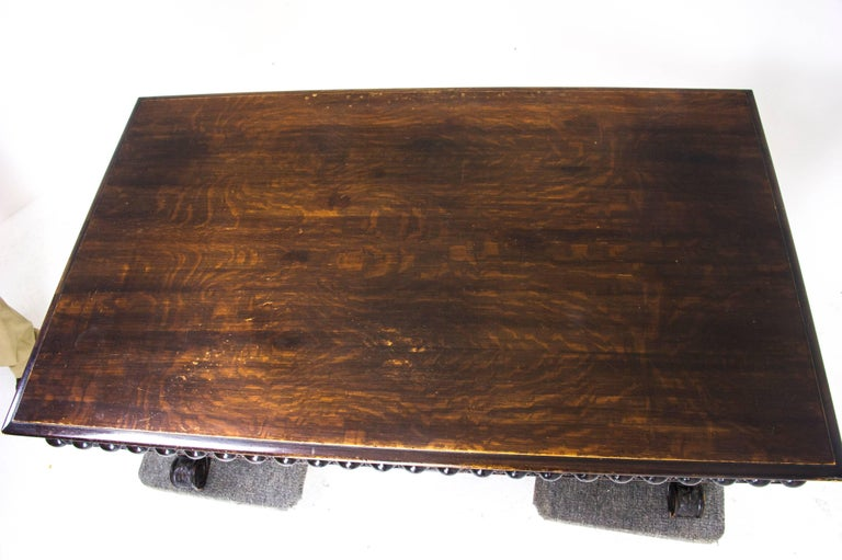 Antique Partners Desk Carved Oak Writing Table Scotland