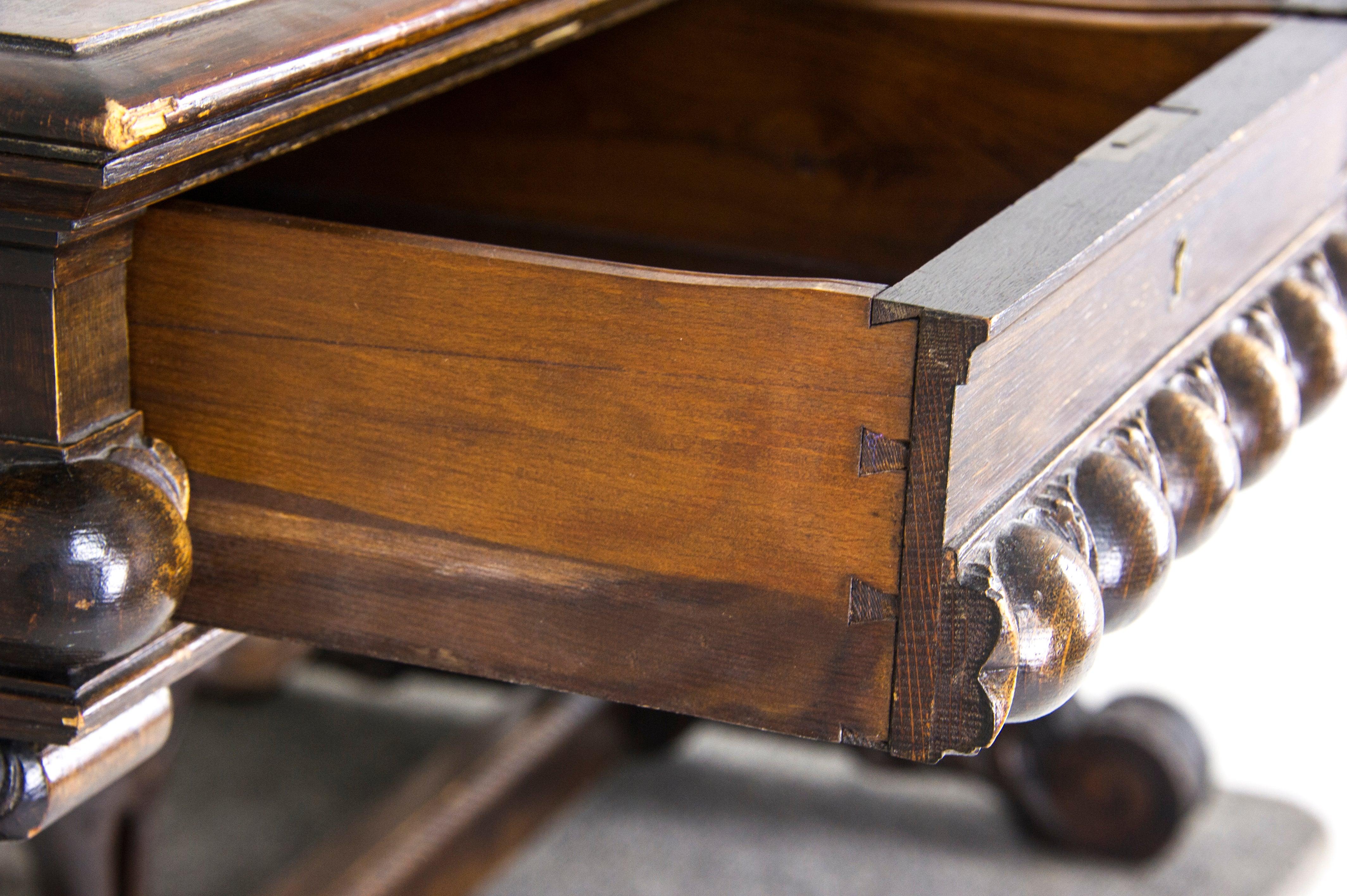 Antique Partners Desk Carved Oak Writing Table Scotland 1880 B885 At 1stdibs