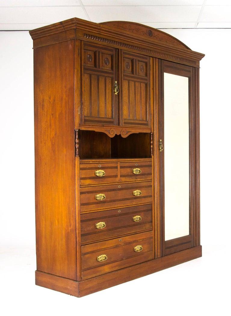 Antique Armoire, Victorian Armoire, Walnut Wardrobe, Scotland, 1880 ...
