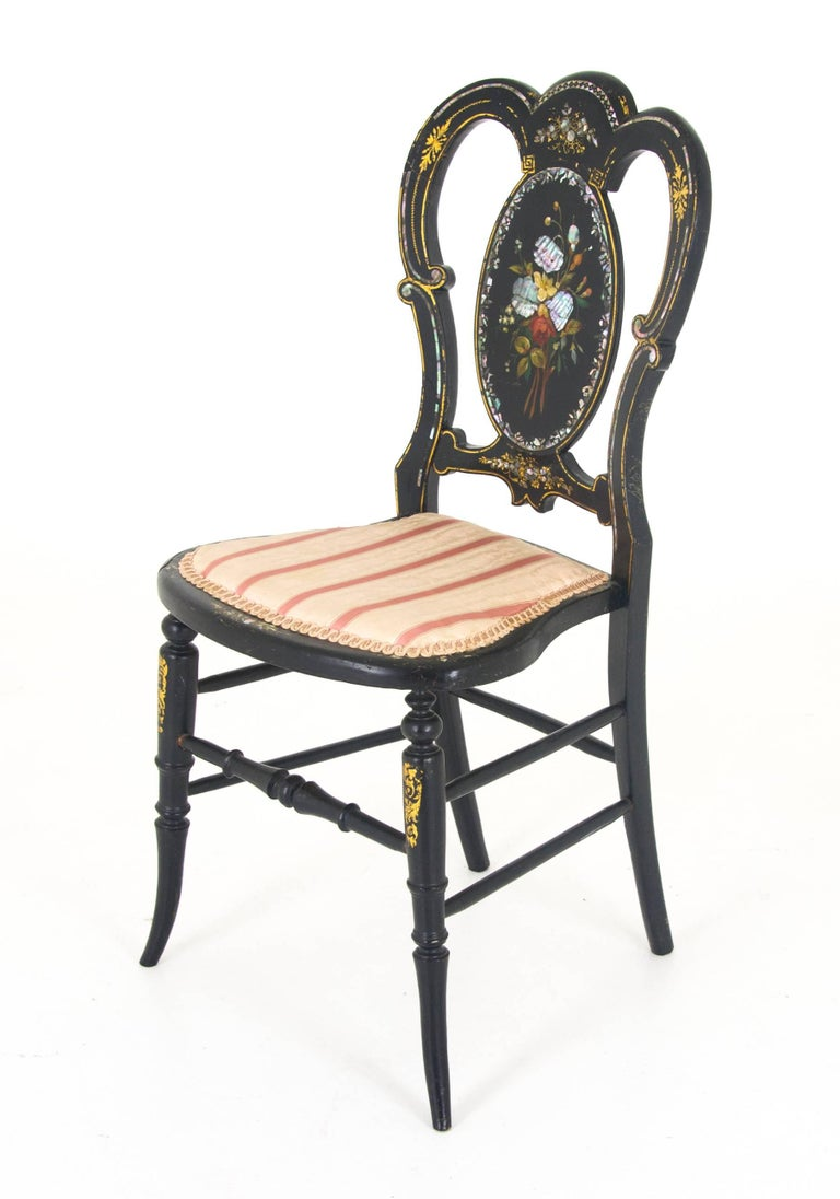 Antique Chair, Black Lacquered Chair, Victorian, England, 1870 REDUCED!! For - Antique Chair, Black Lacquered Chair, Victorian, England, 1870