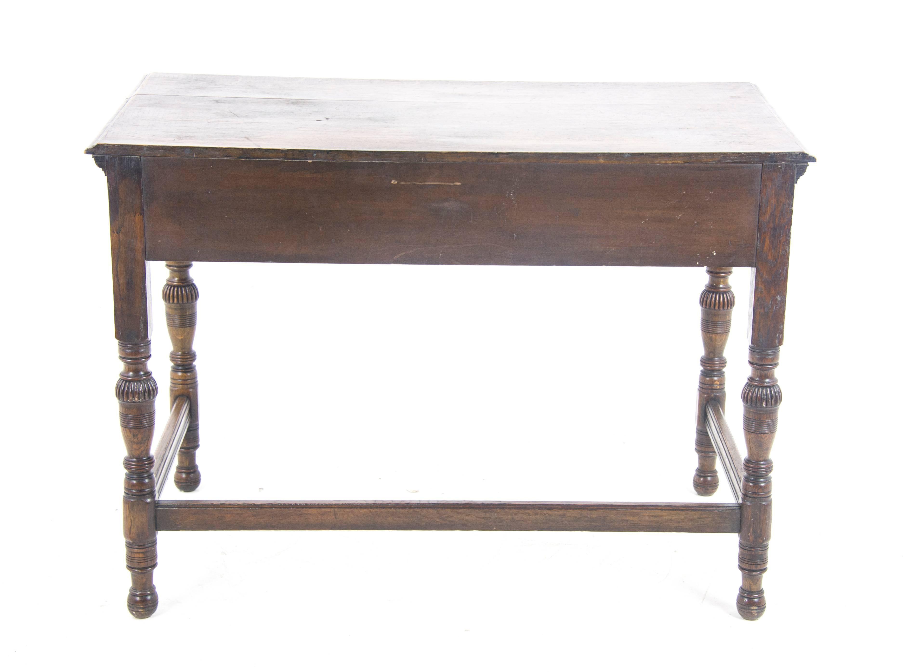 Delicieux Antique Hall Table, Vintage Writing Table, Oak Desk, Scotland, 1910 For Sale