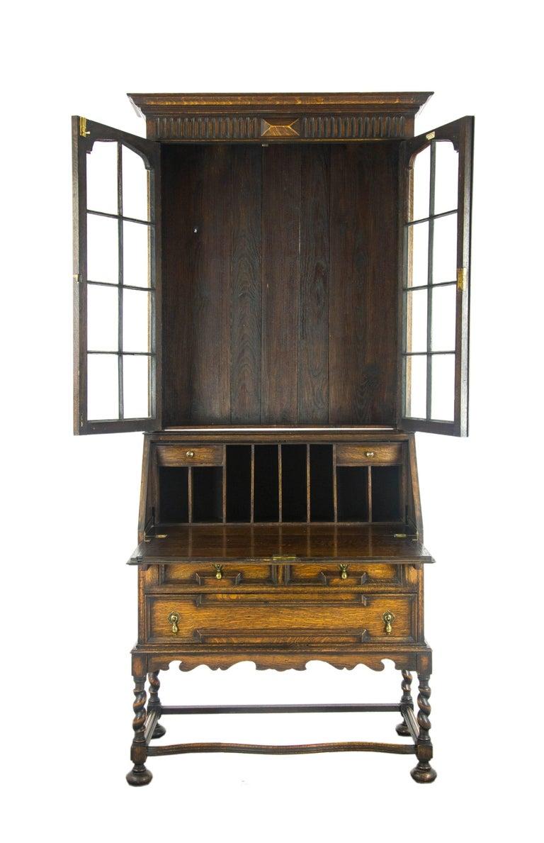 Antique Secretary Desk Victorian Oak Fall Front Furniture Scotland