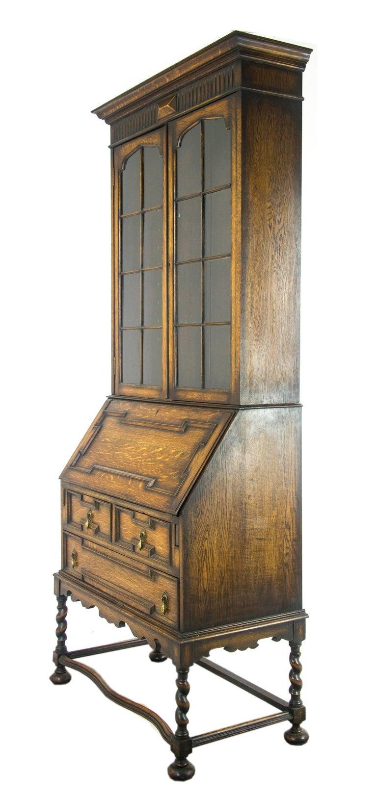 Hand-Crafted Antique Secretary Desk, Victorian Oak Desk, Fall Front Desk,  Scotland - Antique Secretary Desk, Victorian Oak Desk, Fall Front Desk