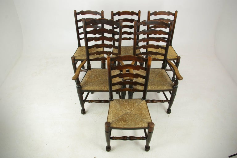 Antique dining chairs, farmhouse rush chairs, six chairs, Scotland, 1930,  antique - Antique Dining Chairs, Rush Chairs, Ladder Back Chairs, 1930s, B1014