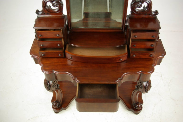 Victorian Antique Mahogany Dresser, Carved Vanity, Duchess Dressing Table,  1870 For Sale - Antique Mahogany Dresser, Carved Vanity, Duchess Dressing Table