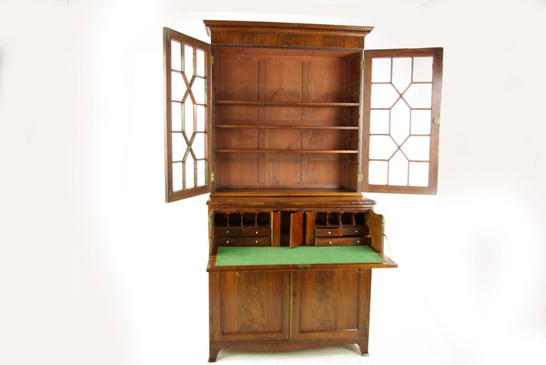 Antique mahogany secretary bookcase, George III secretary desk, Scotland  1810, antique furniture, - Antique Mahogany Secretary Bookcase, George III Desk, Scotland 1810
