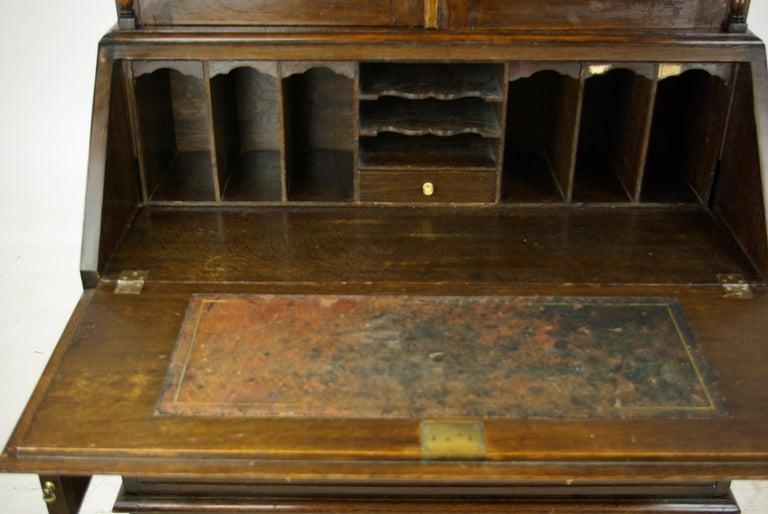 Scottish Antique Secretary Desk, Fall Front Desk, Oak Bookcase, Scotland,  1920 For - Antique Secretary Desk, Fall Front Desk, Oak Bookcase, Scotland