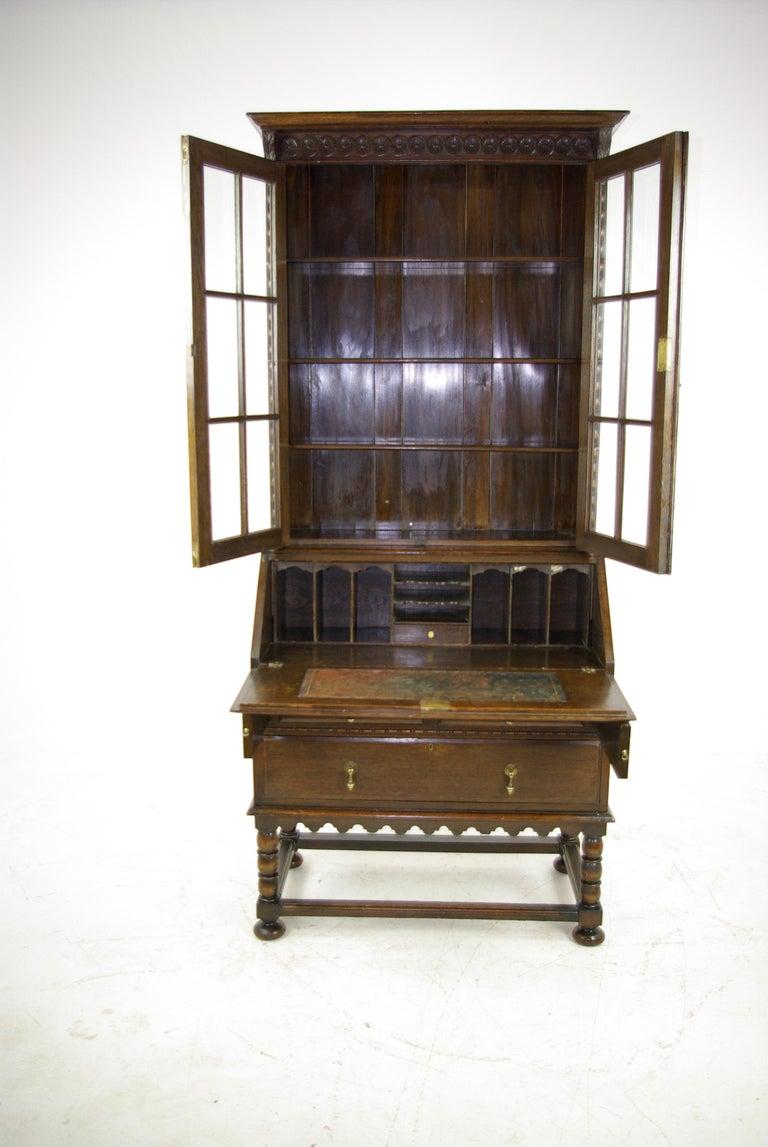 Secretary Desk Antique Fall Front Oak Bookcase Scotland 1920