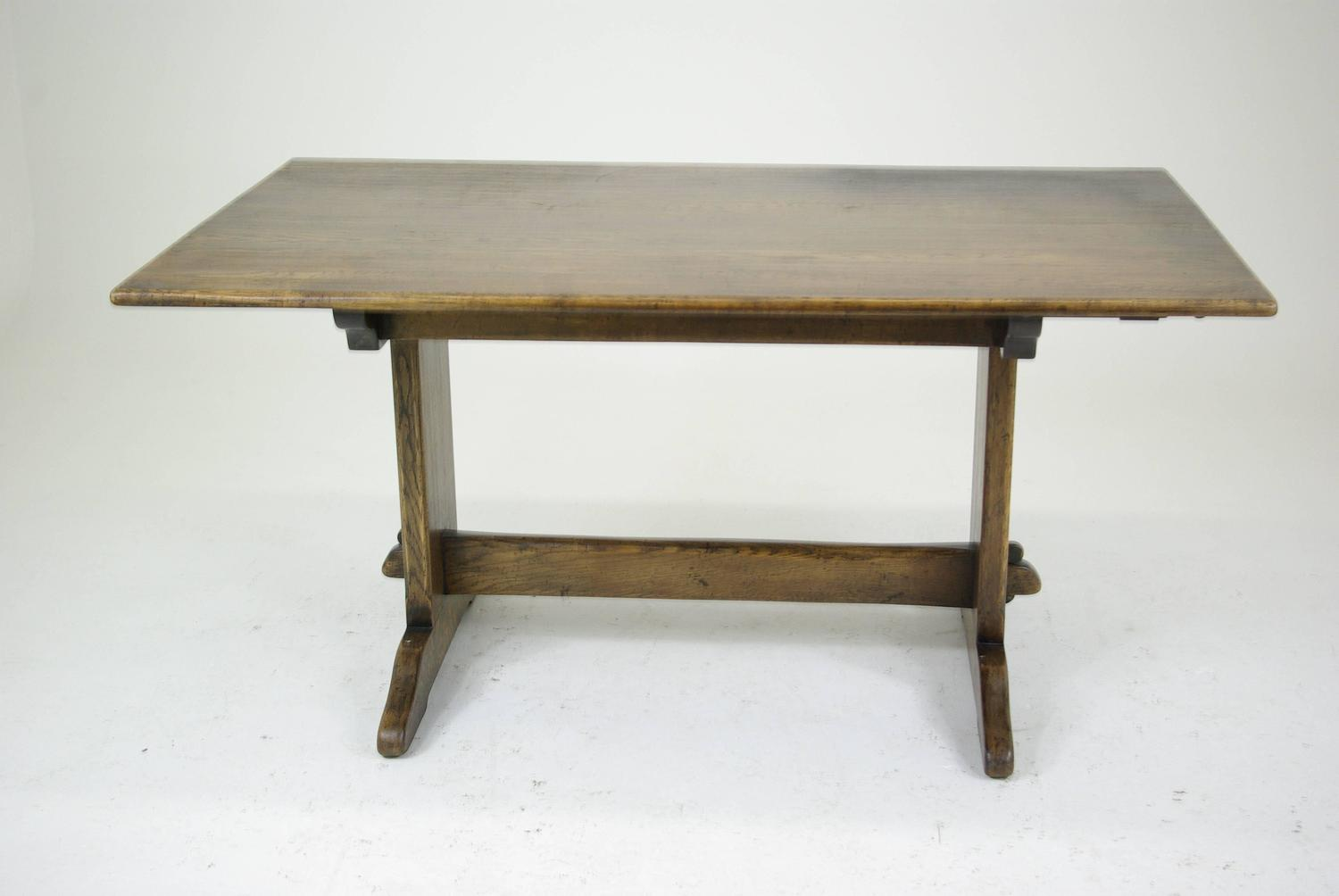 B293 Solid Oak Refectory Trestle Table Carved Base With Two Leaves At . Full resolution  img, nominally Width 1500 Height 1004 pixels, img with #5F4C32.