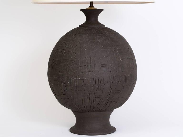 Monumental Hand Thrown Art Pottery Sphere Lamp For Sale At