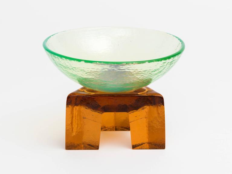 Post-Modern Memphis Style Art Glass Elemental Bowl Sculpture For Sale