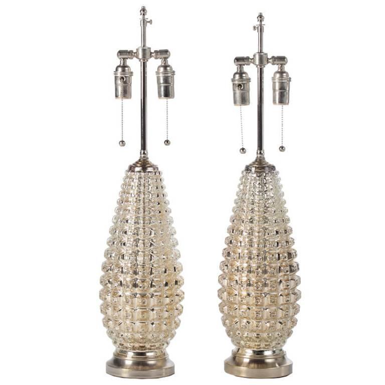 Faux Crocodile Mercury Glass Lamps