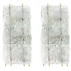 Venini Glass Ice Block Sconces