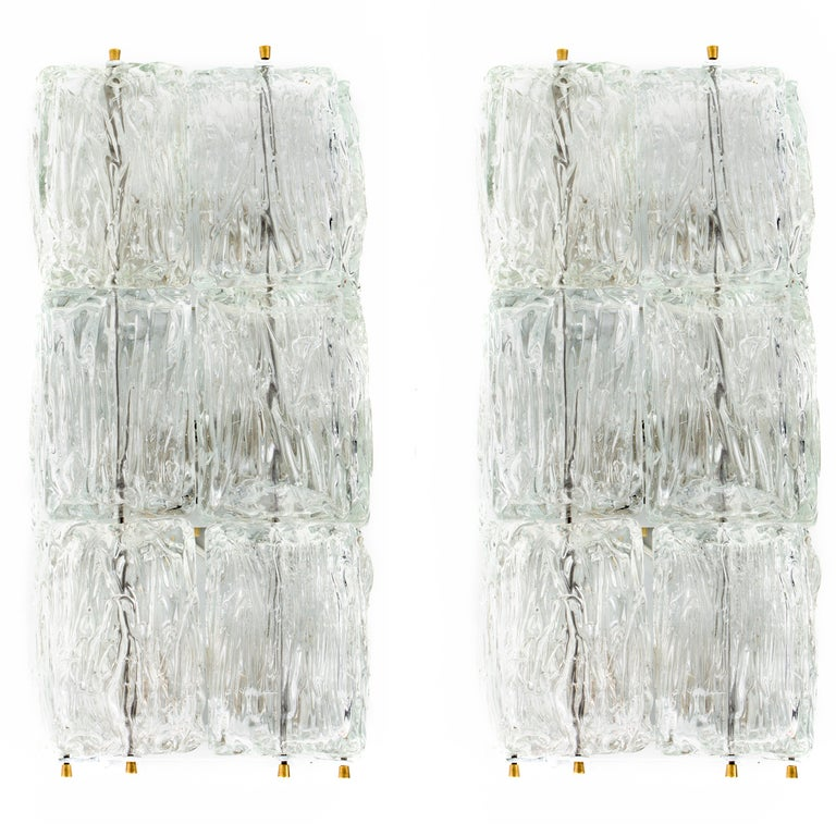 Venini Glass Ice Block Sconces