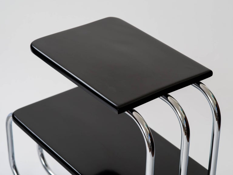 Lacquered Alfons Bach Machine Age Tubular Chrome End Tables For Sale