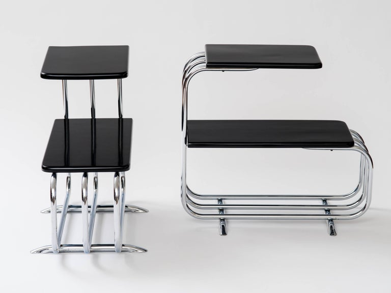 Alfons Bach Machine Age Tubular Chrome End Tables In Good Condition For Sale In New York, NY