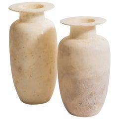 Pair of Egyptian Alabaster Wide Rimmed Urn Vases