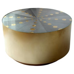 """""""Constellation"""" Metallic Marquetry Brushed Brass Circular Coffee Table"""
